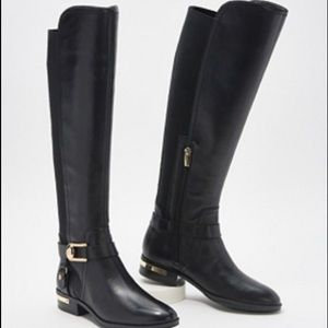 Vince Camuto Black Leather Studded Boots